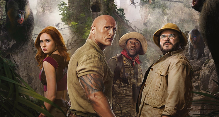 Jumanji Następny poziom Karen Gillan, Dwayne Johnson, Kevin Hart oraz Jack Black.