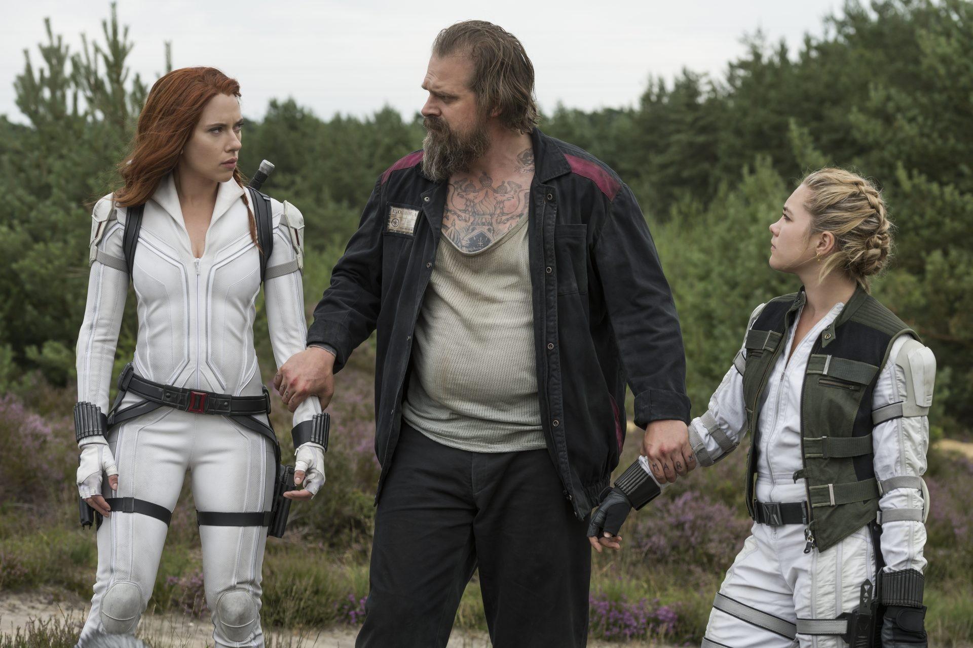 Czarna Wdowa Scarlett Johansson, David Harbour i Florence Pugh