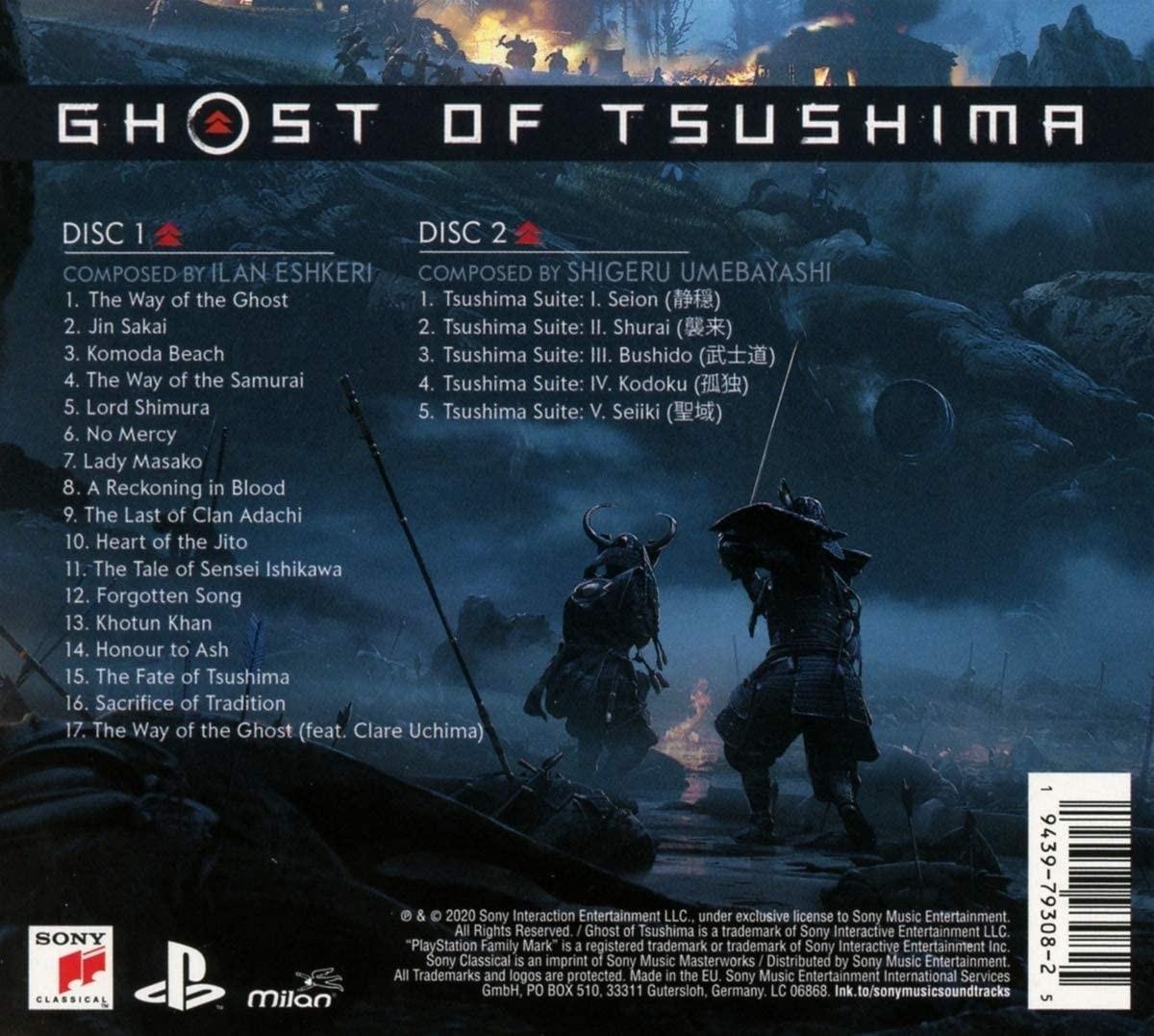 Ghost of Tsushima - okładka soundtracku CD (tył)