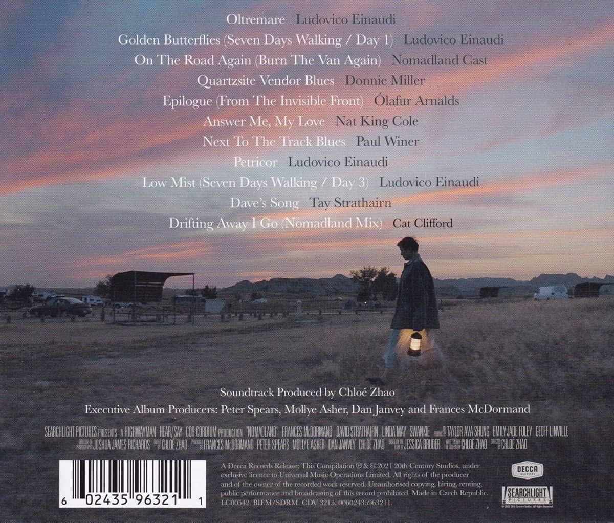 Nomadland - okładka soundtracku CD (tył)