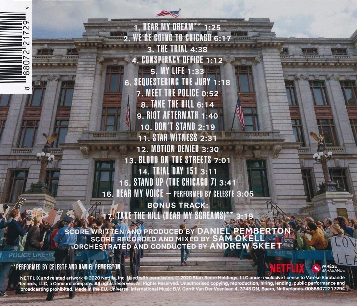 Proces Siódemki z Chicago - okładka soundtracku CD (tył)